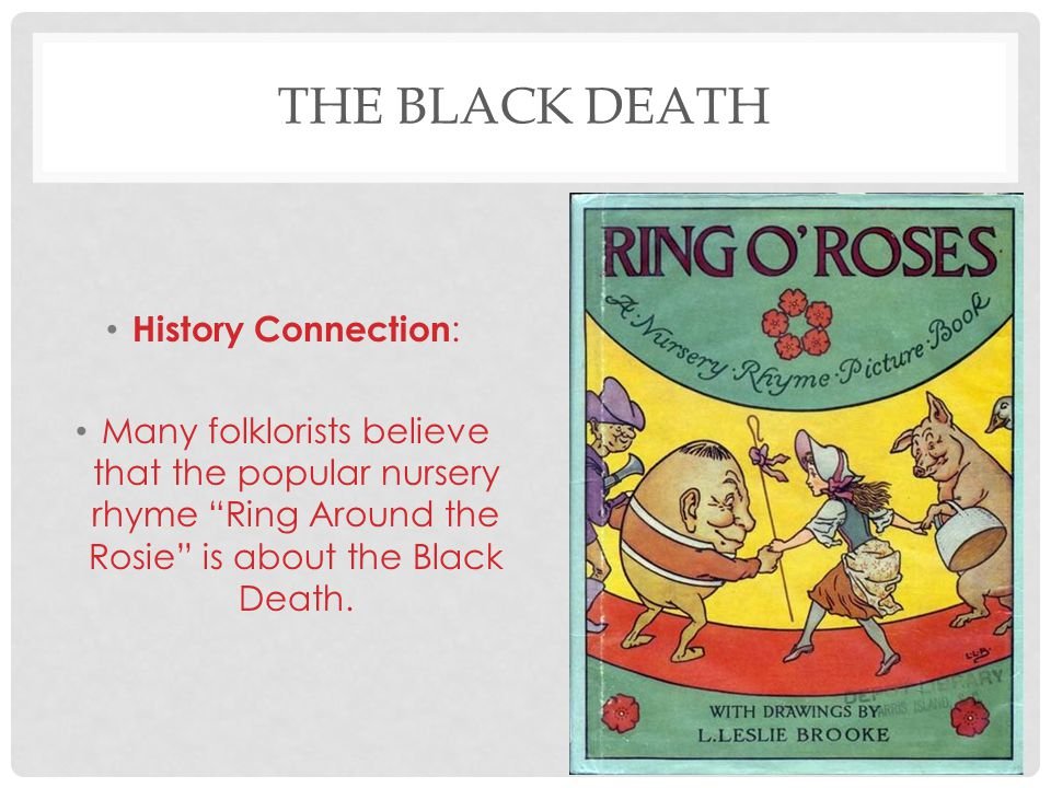 """THE BLACK DEATH History Connection : Many folklorists believe that the popular nursery rhyme """"Ring Around the Rosie"""" is about the Black Death."""