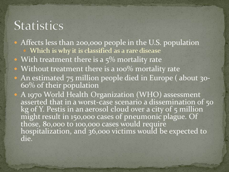 Affects less than 200,000 people in the U.S. population Which is why it is classified as a rare disease With treatment there is a 5% mortality rate Wi