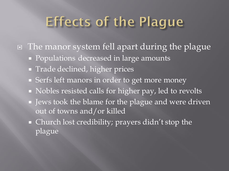  The manor system fell apart during the plague  Populations decreased in large amounts  Trade declined, higher prices  Serfs left manors in order to get more money  Nobles resisted calls for higher pay, led to revolts  Jews took the blame for the plague and were driven out of towns and/or killed  Church lost credibility; prayers didn't stop the plague