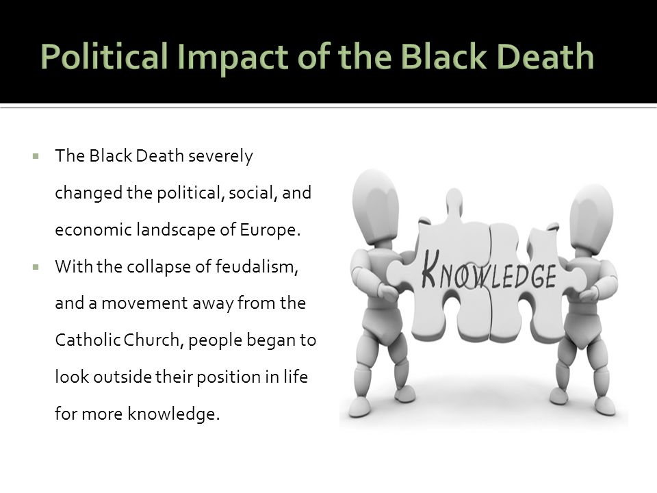  The Black Death severely changed the political, social, and economic landscape of Europe.  With the collapse of feudalism, and a movement away from