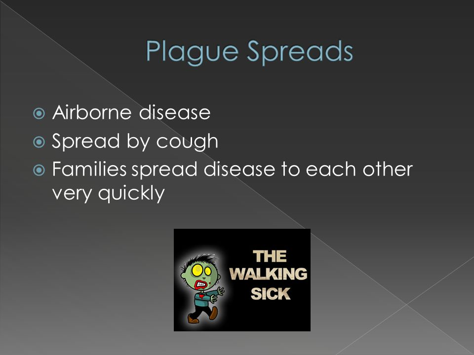  Airborne disease  Spread by cough  Families spread disease to each other very quickly