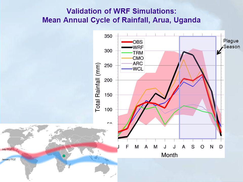 Validation of WRF Simulations: Mean Annual Cycle of Rainfall, Arua, Uganda Plague Season