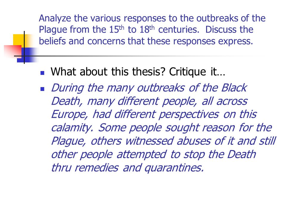 thesis statements on the black plague