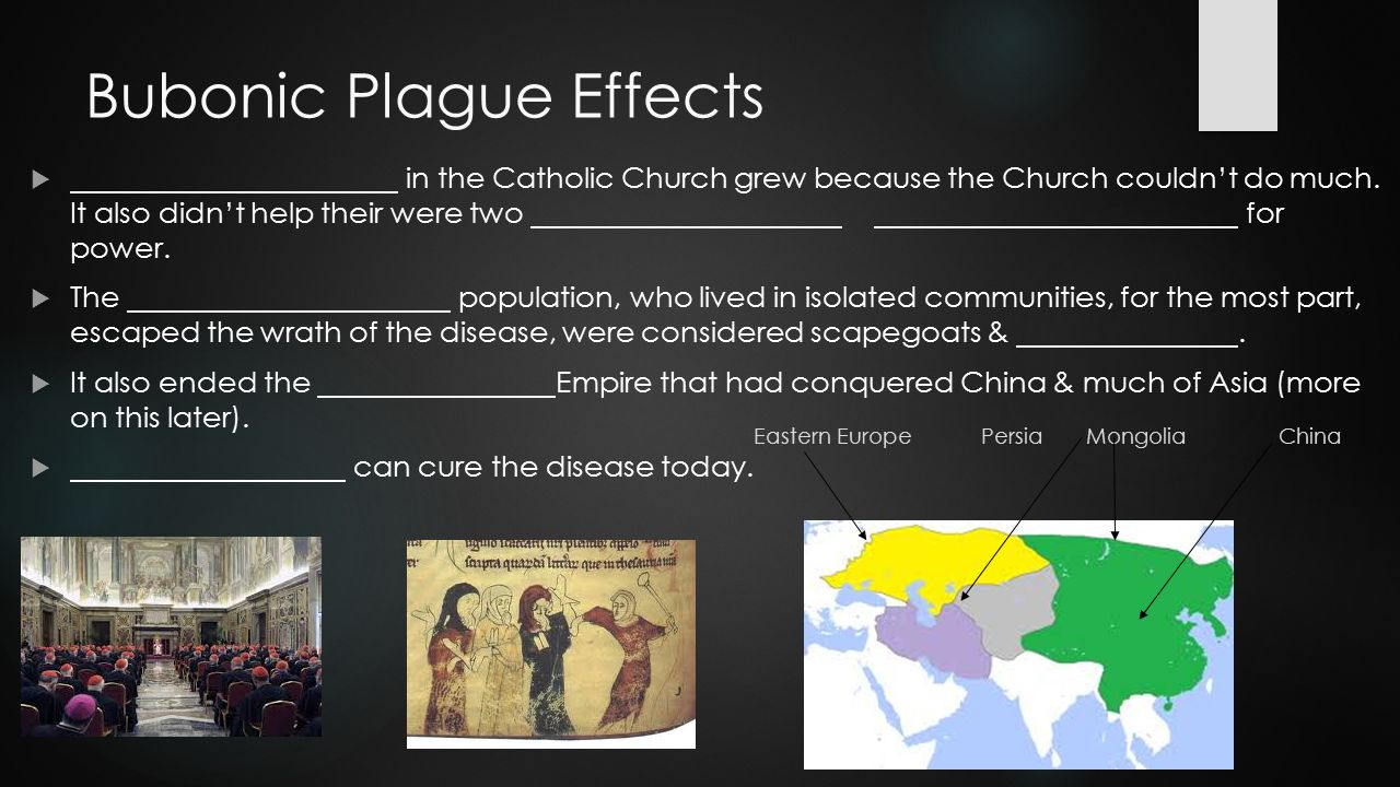 Bubonic Plague Effects  in the Catholic Church grew because the Church couldn't do much. It also didn't help their were two for power.  The populati