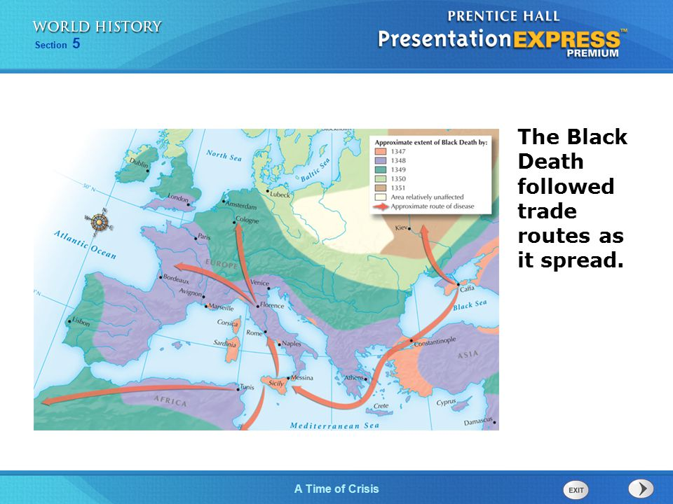 Section 5 A Time of Crisis The Black Death followed trade routes as it spread.