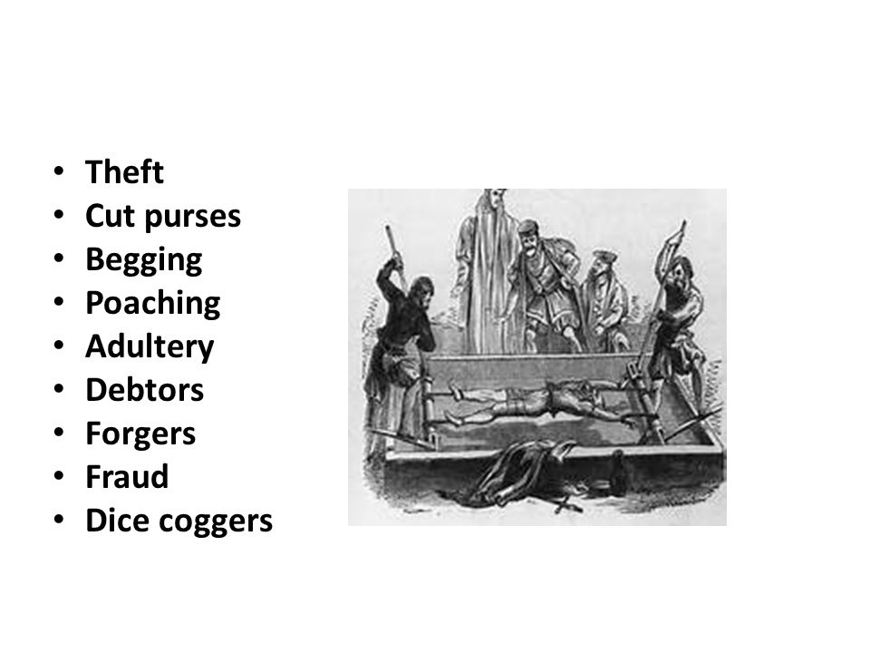 Theft Cut purses Begging Poaching Adultery Debtors Forgers Fraud Dice coggers