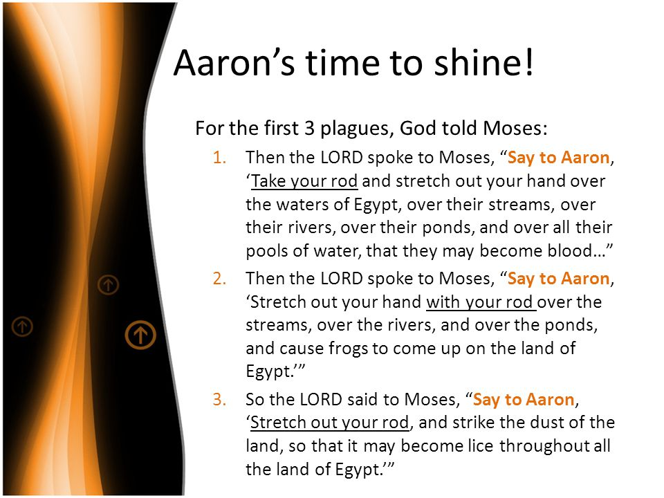 "Aaron's time to shine! For the first 3 plagues, God told Moses: 1.Then the LORD spoke to Moses, ""Say to Aaron, 'Take your rod and stretch out your han"