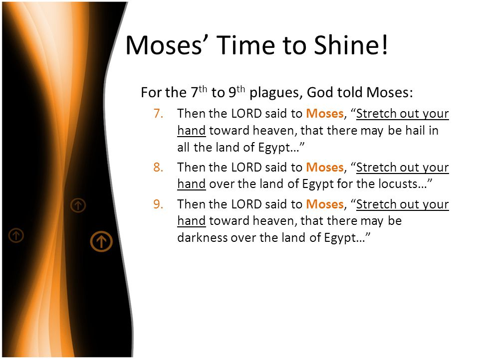 "Moses' Time to Shine! For the 7 th to 9 th plagues, God told Moses: 7.Then the LORD said to Moses, ""Stretch out your hand toward heaven, that there ma"