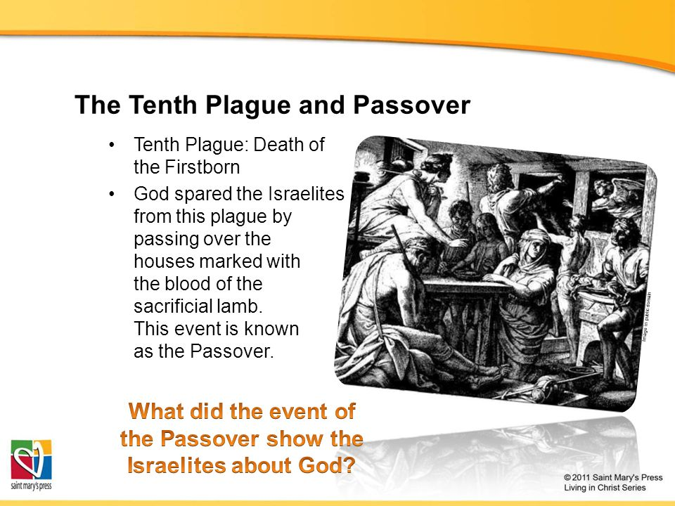 The Tenth Plague and Passover Tenth Plague: Death of the Firstborn God spared the Israelites from this plague by passing over the houses marked with the blood of the sacrificial lamb.