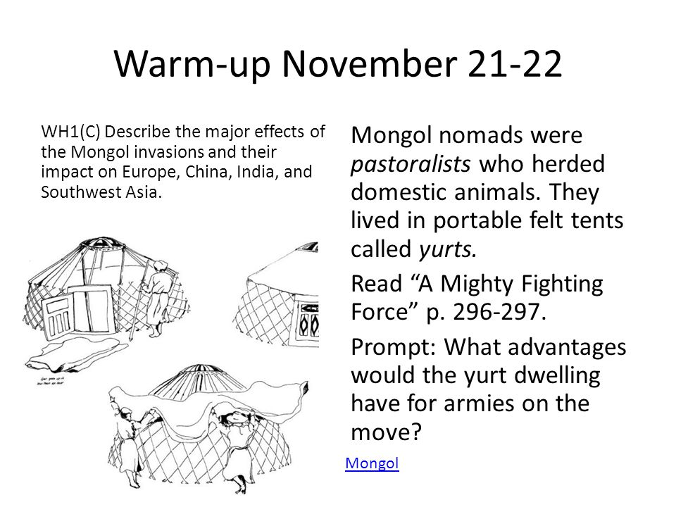 Warm-up November 21-22 WH1(C) Describe the major effects of the Mongol invasions and their impact on Europe, China, India, and Southwest Asia.