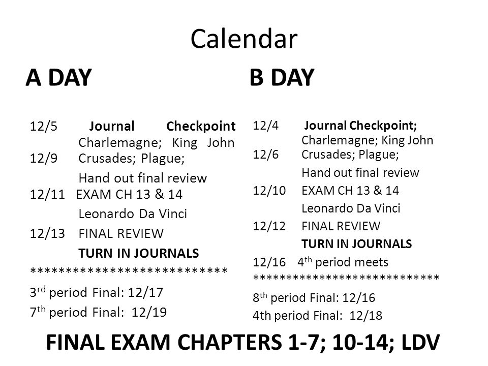 Calendar A DAY 12/5 Journal Checkpoint Charlemagne; King John 12/9Crusades; Plague; Hand out final review 12/11 EXAM CH 13 & 14 Leonardo Da Vinci 12/13FINAL REVIEW TURN IN JOURNALS *************************** 3 rd period Final: 12/17 7 th period Final: 12/19 B DAY 12/4 Journal Checkpoint; Charlemagne; King John 12/6 Crusades; Plague; Hand out final review 12/10 EXAM CH 13 & 14 Leonardo Da Vinci 12/12FINAL REVIEW TURN IN JOURNALS 12/16 4 th period meets **************************** 8 th period Final: 12/16 4th period Final: 12/18 FINAL EXAM CHAPTERS 1-7; 10-14; LDV