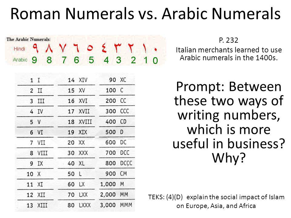 Roman Numerals vs. Arabic Numerals P.