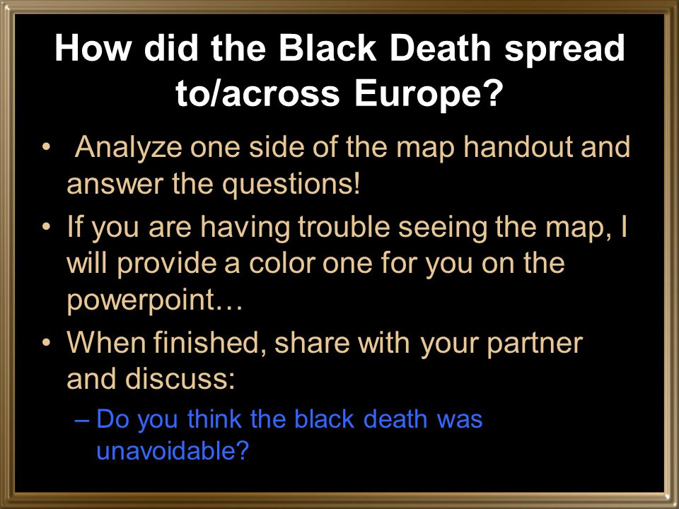 How did the Black Death spread to/across Europe.