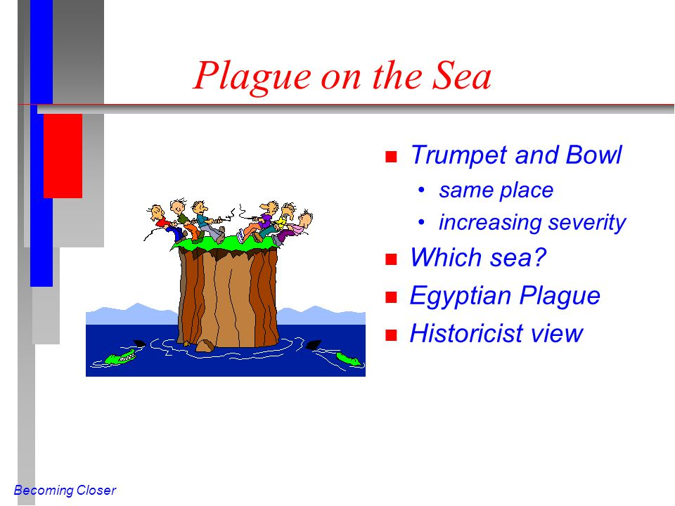 Becoming Closer Plague on the Sea n Trumpet and Bowl same place increasing severity n Which sea.