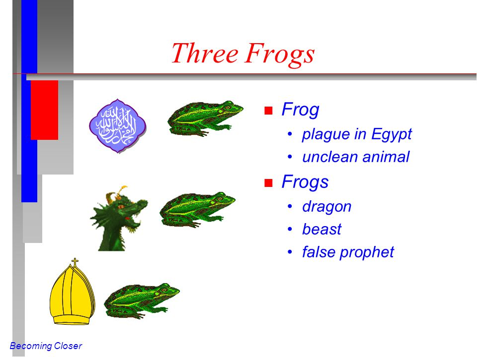 Becoming Closer n Frog plague in Egypt unclean animal n Frogs dragon beast false prophet Three Frogs
