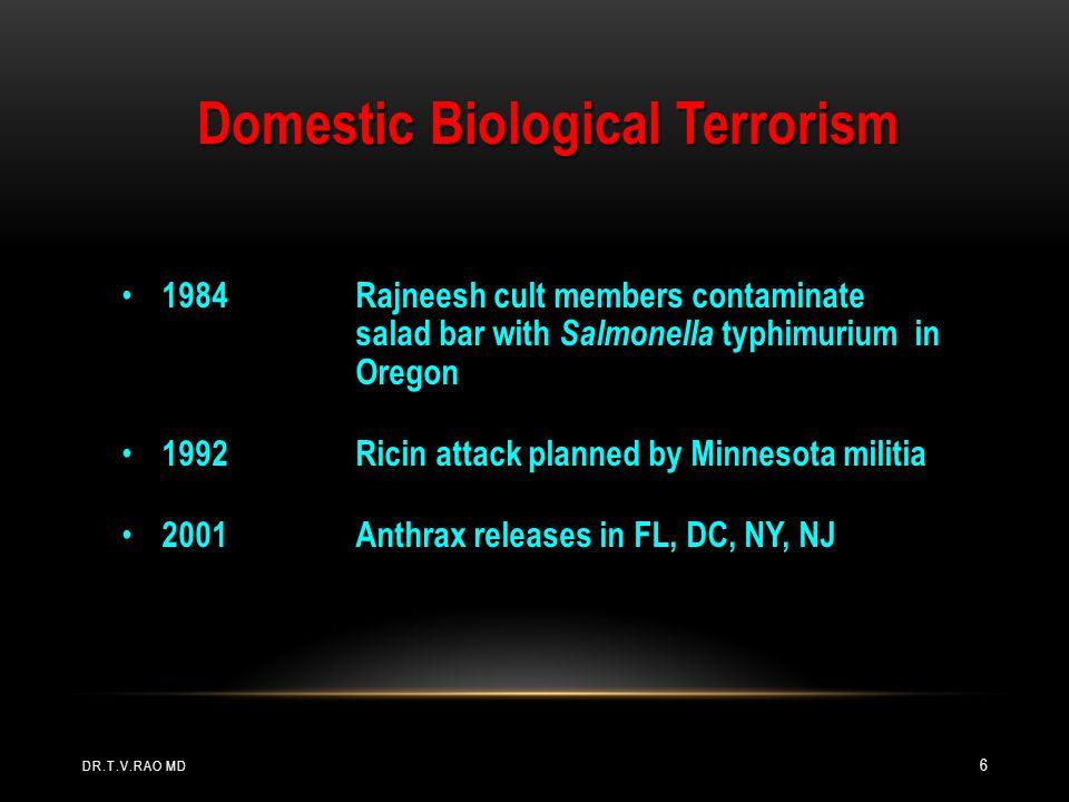 Domestic Biological Terrorism 1984Rajneesh cult members contaminate salad bar with Salmonella typhimurium in Oregon 1984Rajneesh cult members contamin