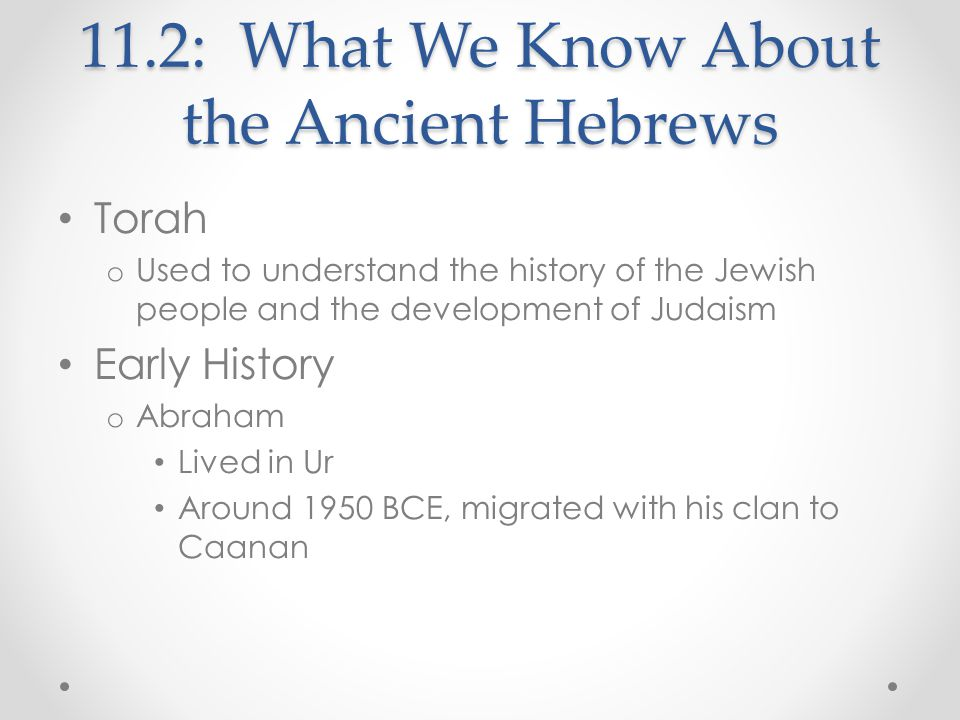 o 1800 BCE: Hebrews moved to Egypt Left because of famine Eventually became slaves o Moses Led the Hebrews in their escape from Egypt o Wandered the wilderness for 40 years o Israel By 1000 BCE, kingdom of Israel set up under King David's rule and his son's, King Solomon David forged Hebrews into one united nation Solomon built a temple in Jerusalem