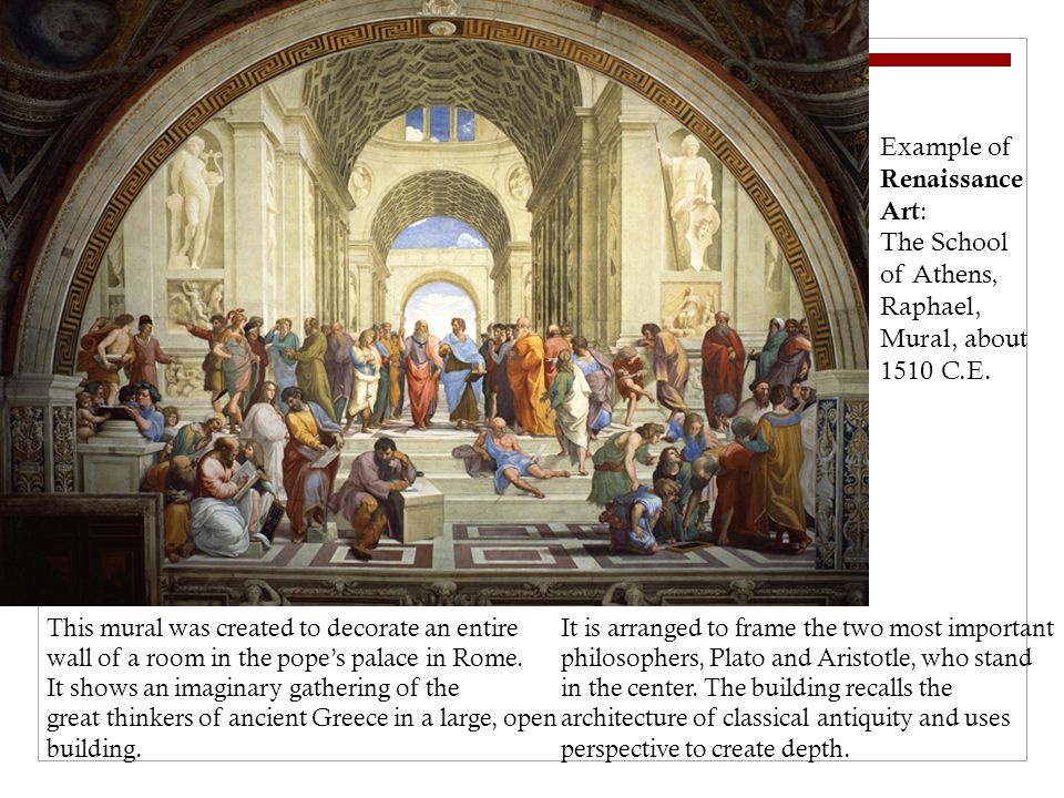 Example of Renaissance Art : The School of Athens, Raphael, Mural, about 1510 C.E.