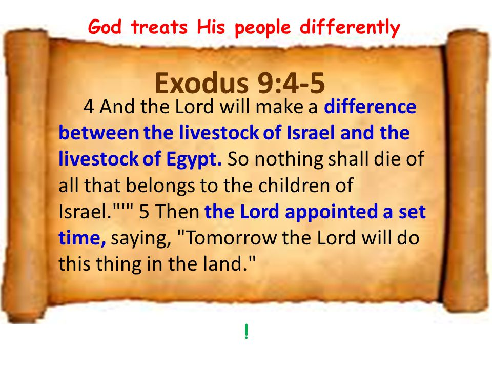 Exodus 9:4-5 4 And the Lord will make a difference between the livestock of Israel and the livestock of Egypt.