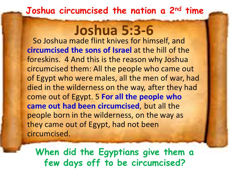 Joshua 5:3-6 So Joshua made flint knives for himself, and circumcised the sons of Israel at the hill of the foreskins.