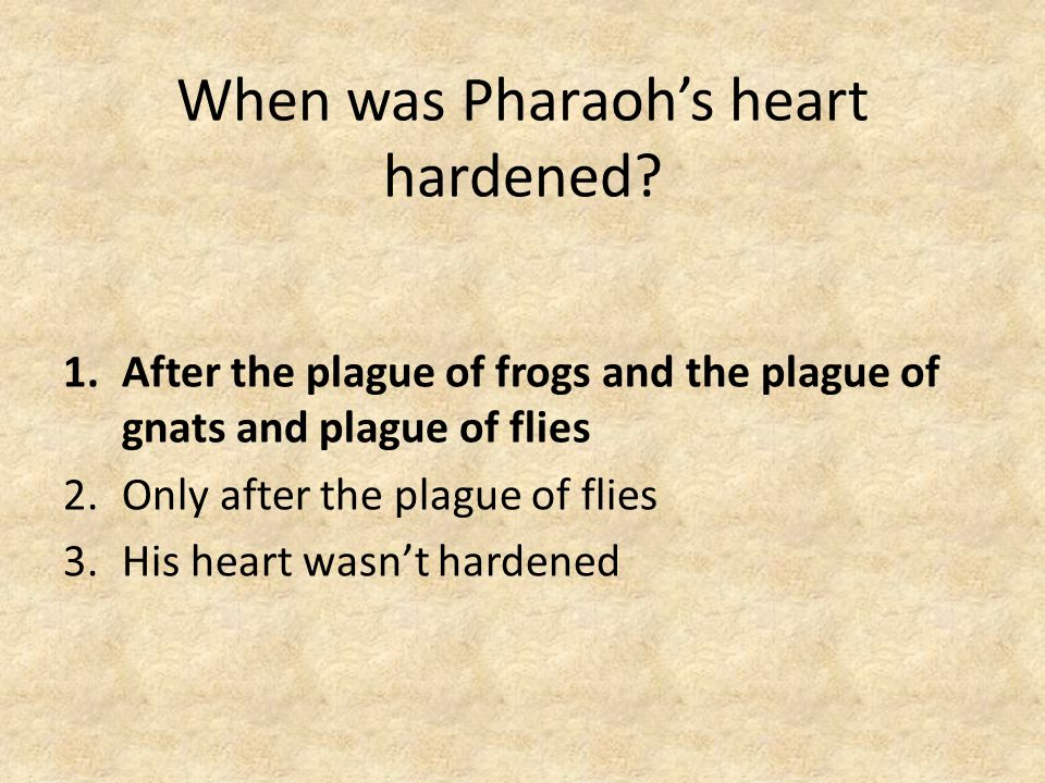 When was Pharaoh's heart hardened.
