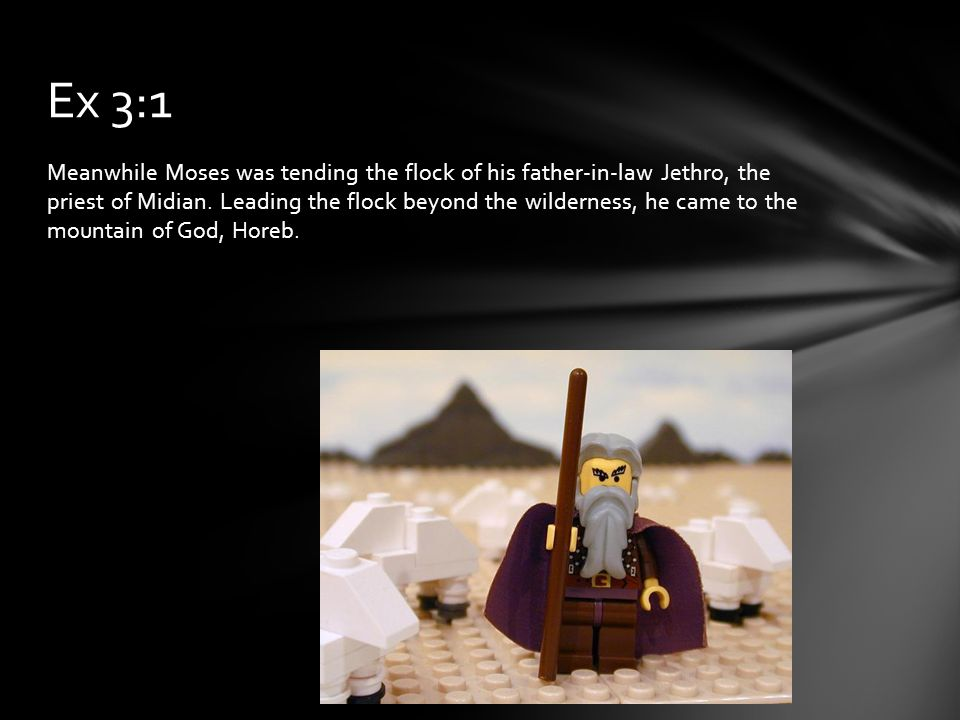 Meanwhile Moses was tending the flock of his father-in-law Jethro, the priest of Midian.
