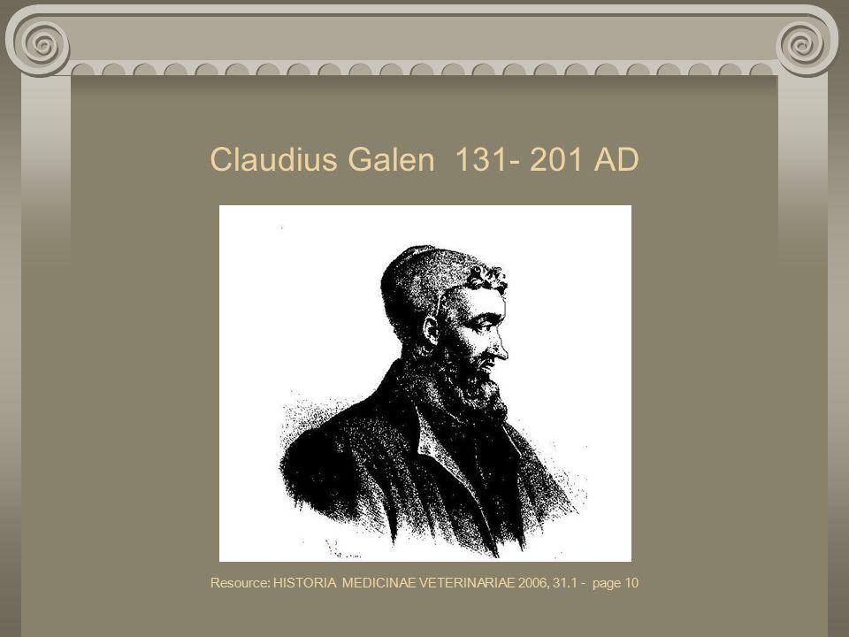 Claudius Galen 131- 201 AD Resource: HISTORIA MEDICINAE VETERINARIAE 2006, 31.1 - page 10