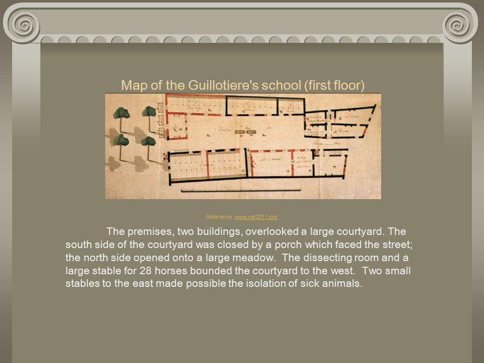 Map of the Guillotiere s school (first floor) Reference: www.vet2011.org The premises, two buildings, overlooked a large courtyard.