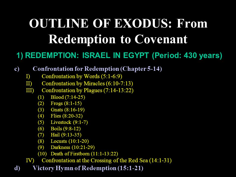 I)Purpose: Yahweh is Lord over all (6:3,7; 7:5; 9:14, 16; 18:11) (1)To deliver Israel so that they may know the Lord (6:7; 10:2)