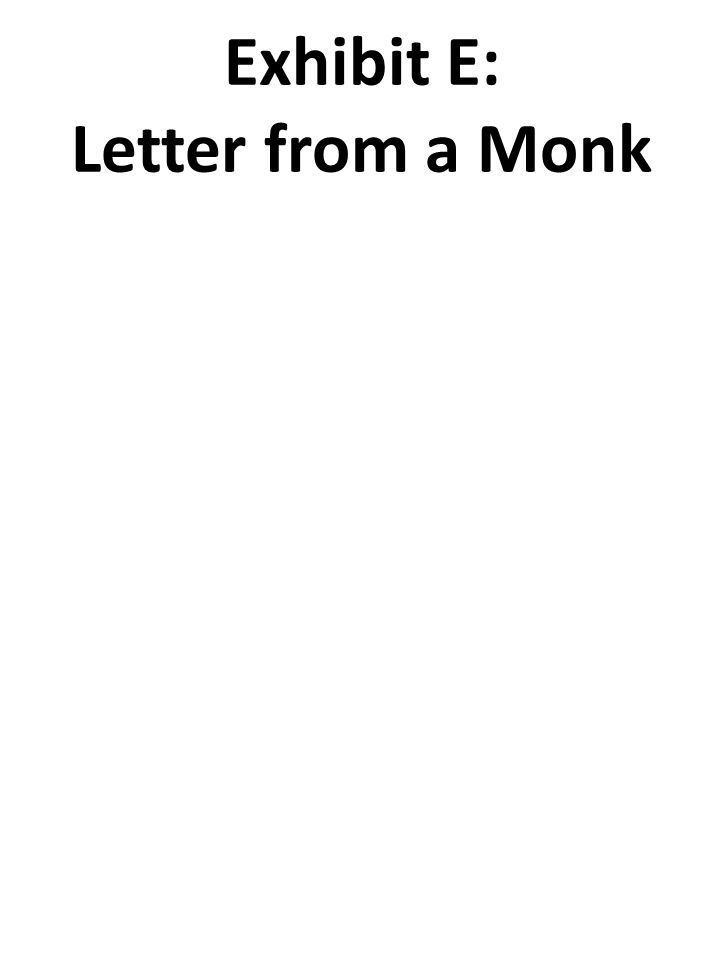 Exhibit E: Letter from a Monk