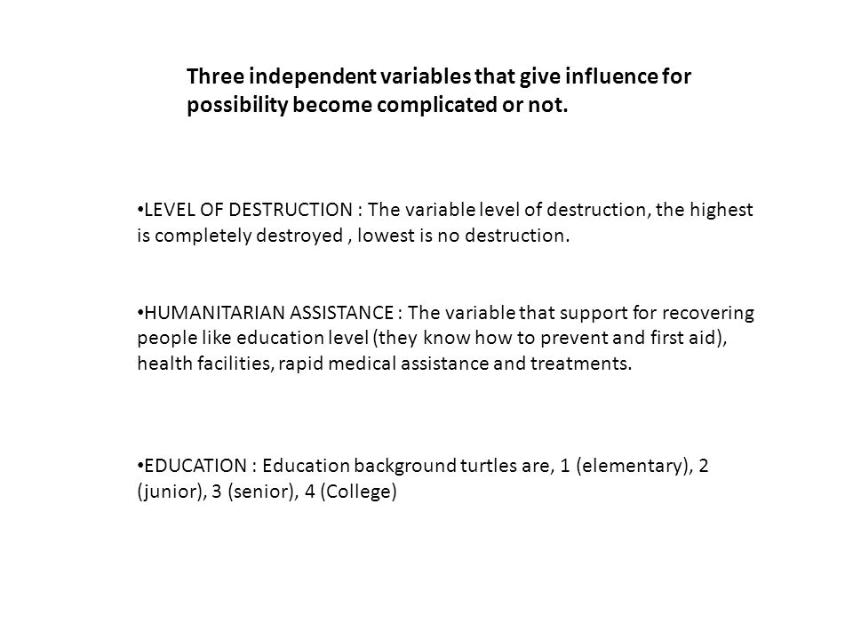 LEVEL OF DESTRUCTION : The variable level of destruction, the highest is completely destroyed, lowest is no destruction. HUMANITARIAN ASSISTANCE : The