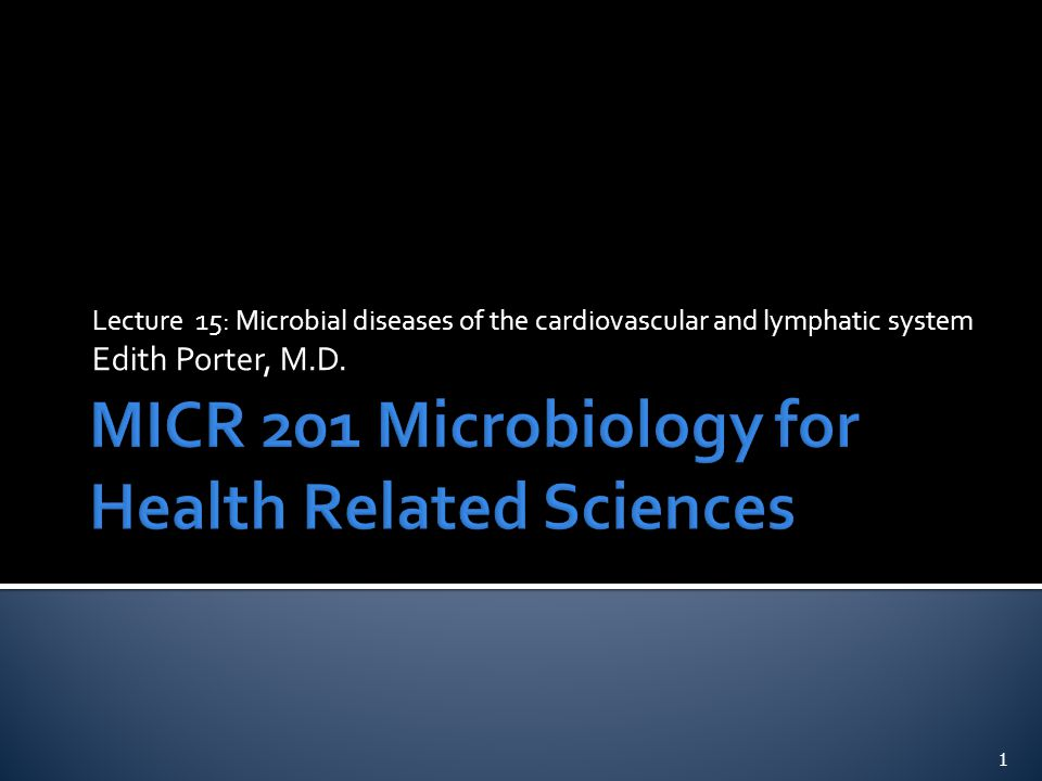 Lecture 15: Microbial diseases of the cardiovascular and lymphatic system Edith Porter, M.D. 1