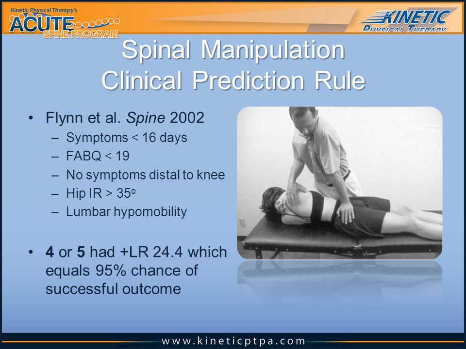 Spinal Manipulation Clinical Prediction Rule Flynn et al.