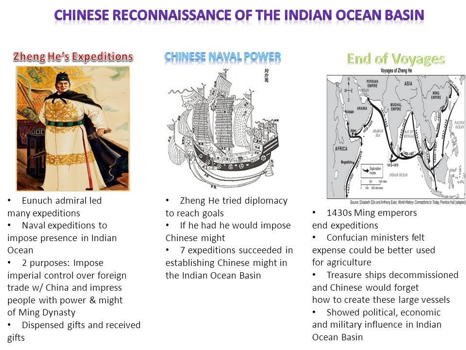 Eunuch admiral led many expeditions Naval expeditions to impose presence in Indian Ocean 2 purposes: Impose imperial control over foreign trade w/ Chi