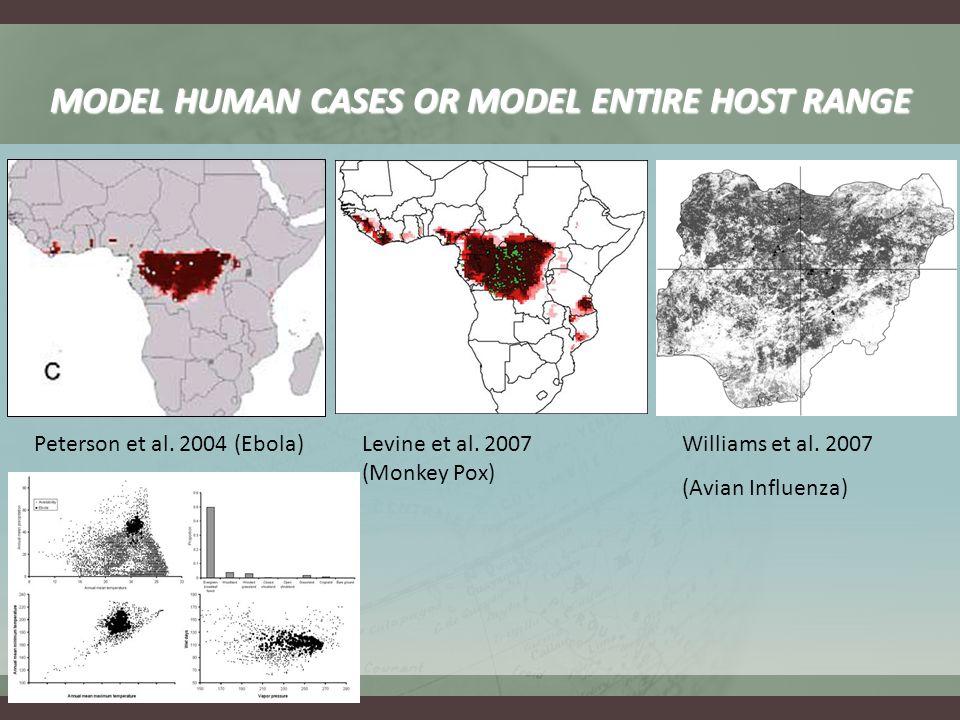 Peterson et al. 2004 (Ebola) MODEL HUMAN CASES OR MODEL ENTIRE HOST RANGE Williams et al.