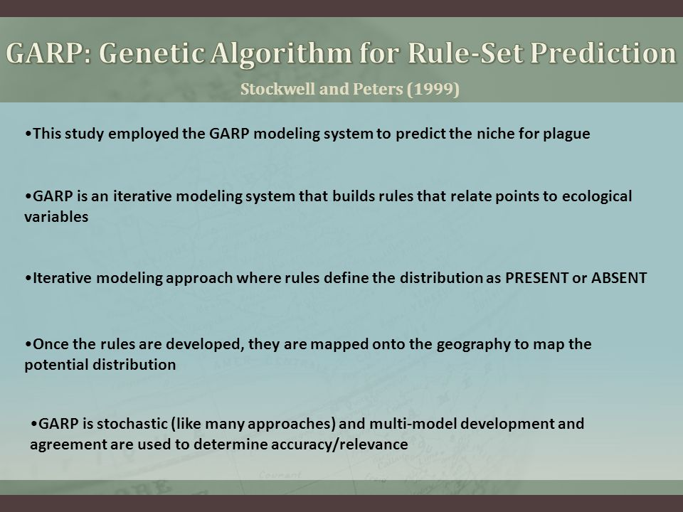 Stockwell and Peters (1999) This study employed the GARP modeling system to predict the niche for plague Iterative modeling approach where rules defin