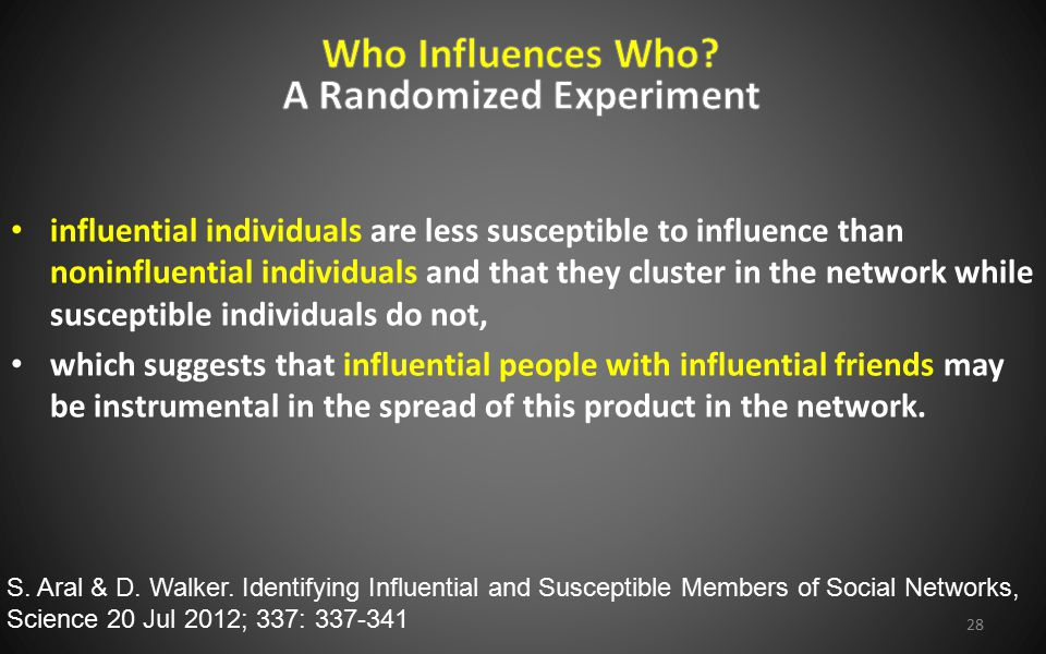 influential individuals are less susceptible to influence than noninfluential individuals and that they cluster in the network while susceptible indiv
