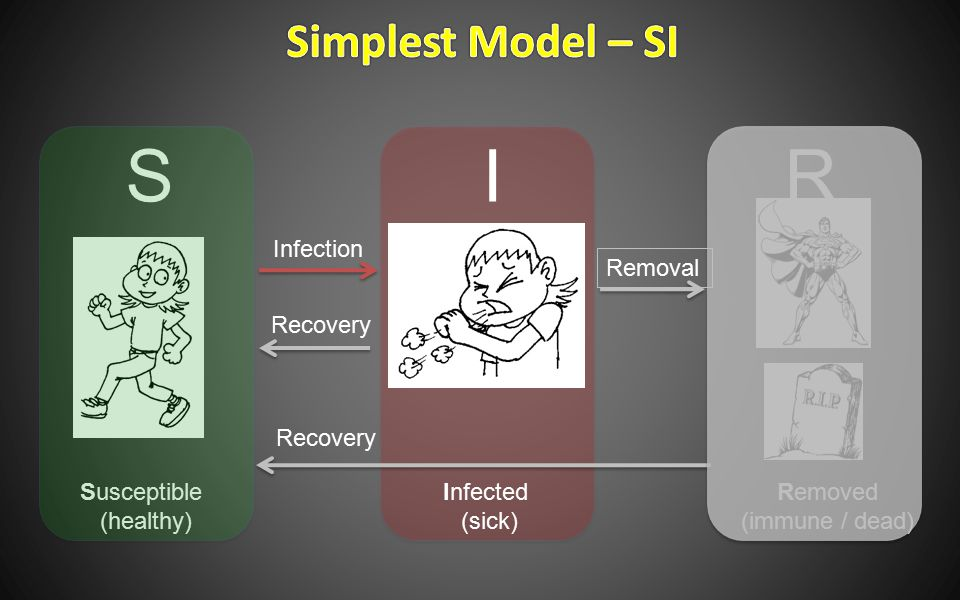 Susceptible (healthy) Infected (sick) Removed (immune / dead) SIR Infection Recovery Removal