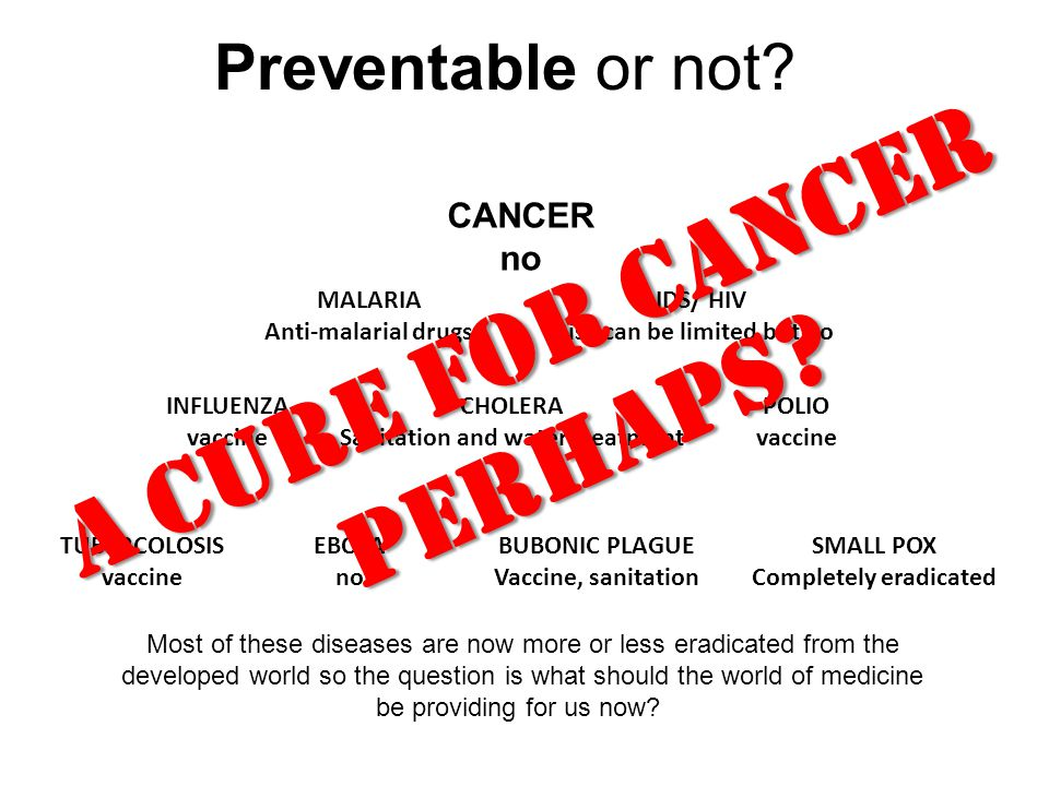 Preventable or not? CANCER no AIDS/ HIV Risk can be limited but no BUBONIC PLAGUE Vaccine, sanitation MALARIA Anti-malarial drugs CHOLERA Sanitation a