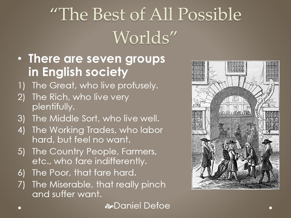 """The Best of All Possible Worlds"" There are seven groups in English society 1)The Great, who live profusely. 2)The Rich, who live very plentifully. 3)"