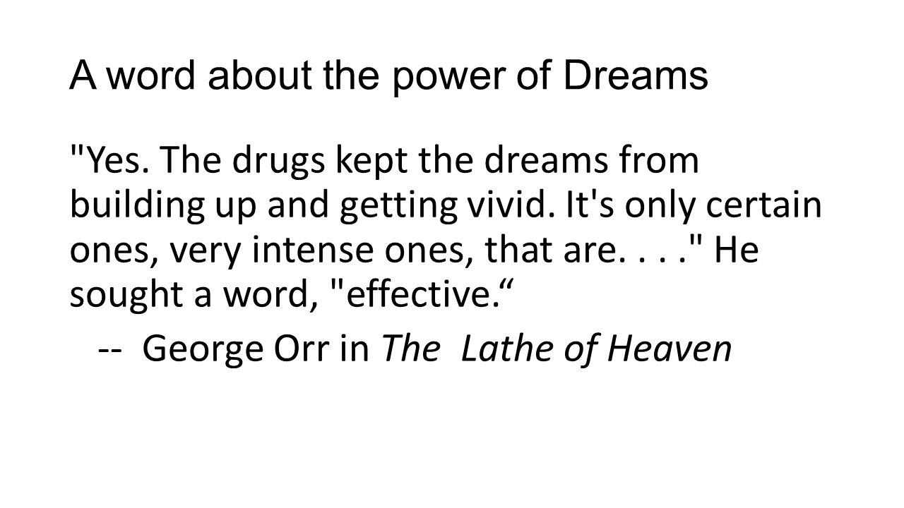 A word about the power of Dreams Yes.