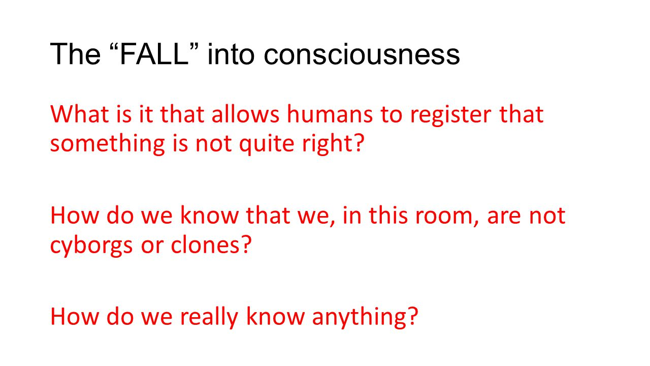The FALL into consciousness What is it that allows humans to register that something is not quite right.