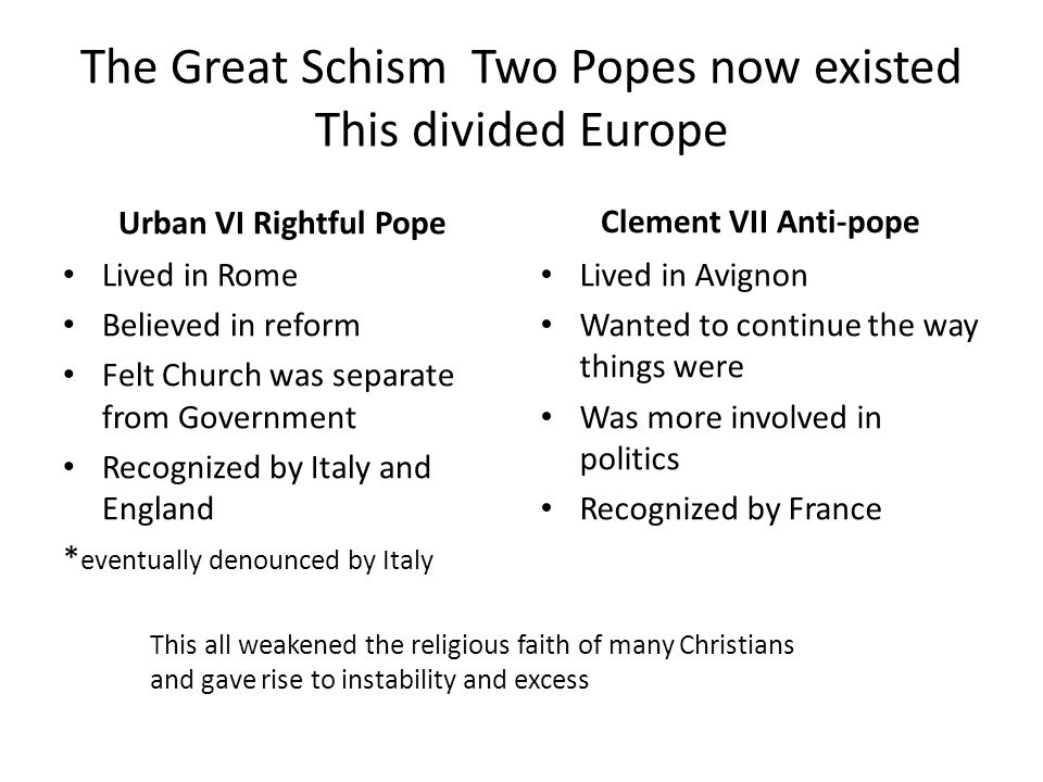 The Great Schism Two Popes now existed This divided Europe Urban VI Rightful Pope Lived in Rome Believed in reform Felt Church was separate from Government Recognized by Italy and England * eventually denounced by Italy Clement VII Anti-pope Lived in Avignon Wanted to continue the way things were Was more involved in politics Recognized by France This all weakened the religious faith of many Christians and gave rise to instability and excess