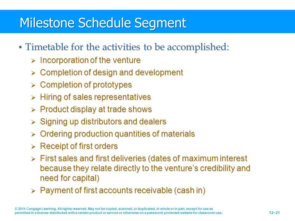 Milestone Schedule Segment Timetable for the activities to be accomplished: Timetable for the activities to be accomplished:  Incorporation of the ve