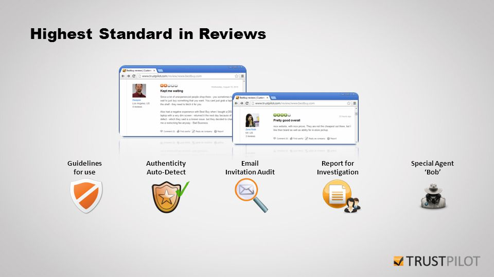 Highest Standard in Reviews Authenticity Auto-Detect Guidelines for use Email Invitation Audit Report for Investigation Special Agent 'Bob'