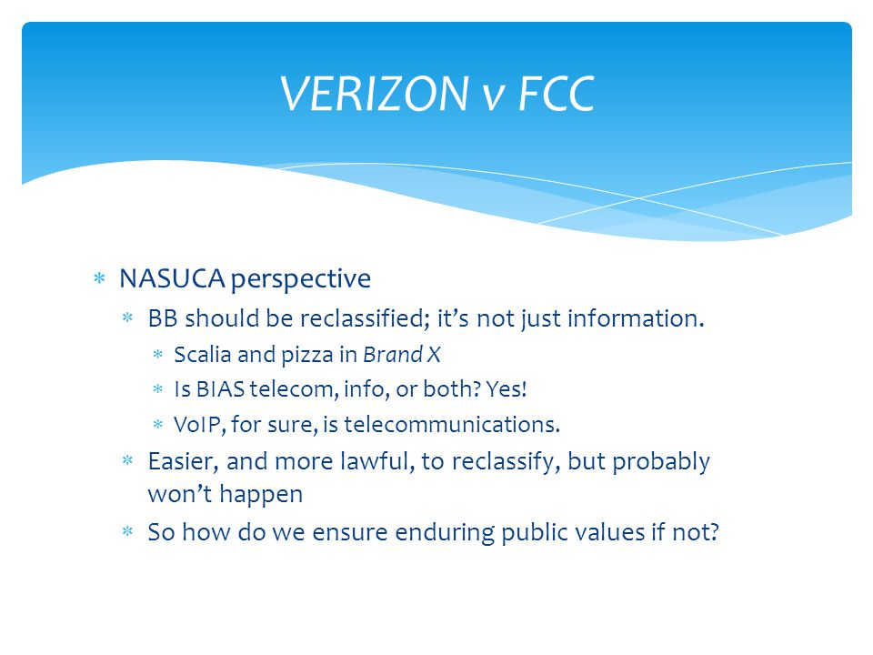  NASUCA perspective  BB should be reclassified; it's not just information.