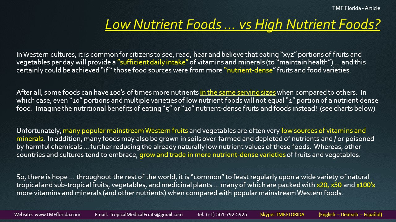 Low Nutrient Foods … vs High Nutrient Foods.