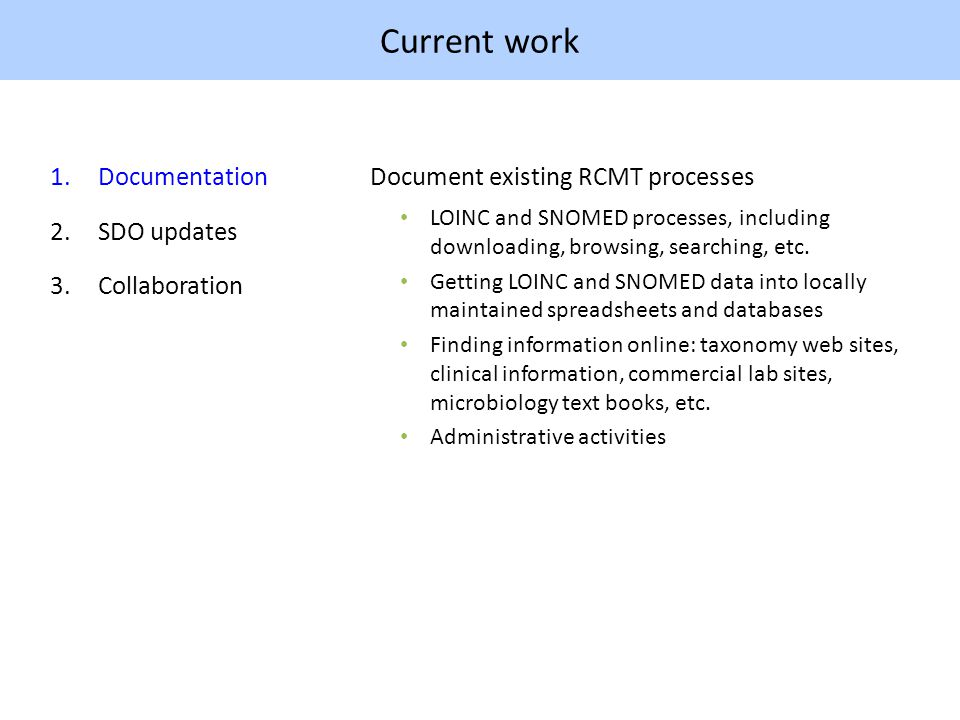 Current work 1.Documentation 2.SDO updates 3.Collaboration Document existing RCMT processes LOINC and SNOMED processes, including downloading, browsing, searching, etc.