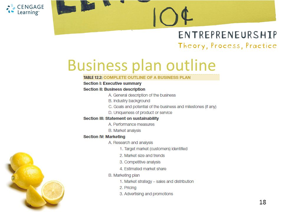 Business plan outline 18