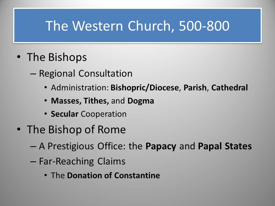 The Bishops – Regional Consultation Administration: Bishopric/Diocese, Parish, Cathedral Masses, Tithes, and Dogma Secular Cooperation The Bishop of R